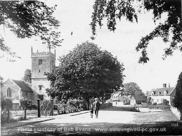 Sunningwell Church and Pond c 1910