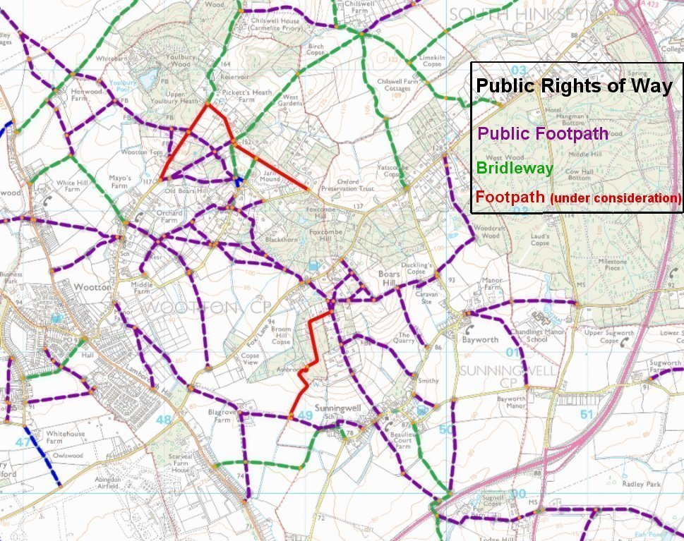 Sunningwell Parish Public Rights of Way map per OCC Countryside Access Map