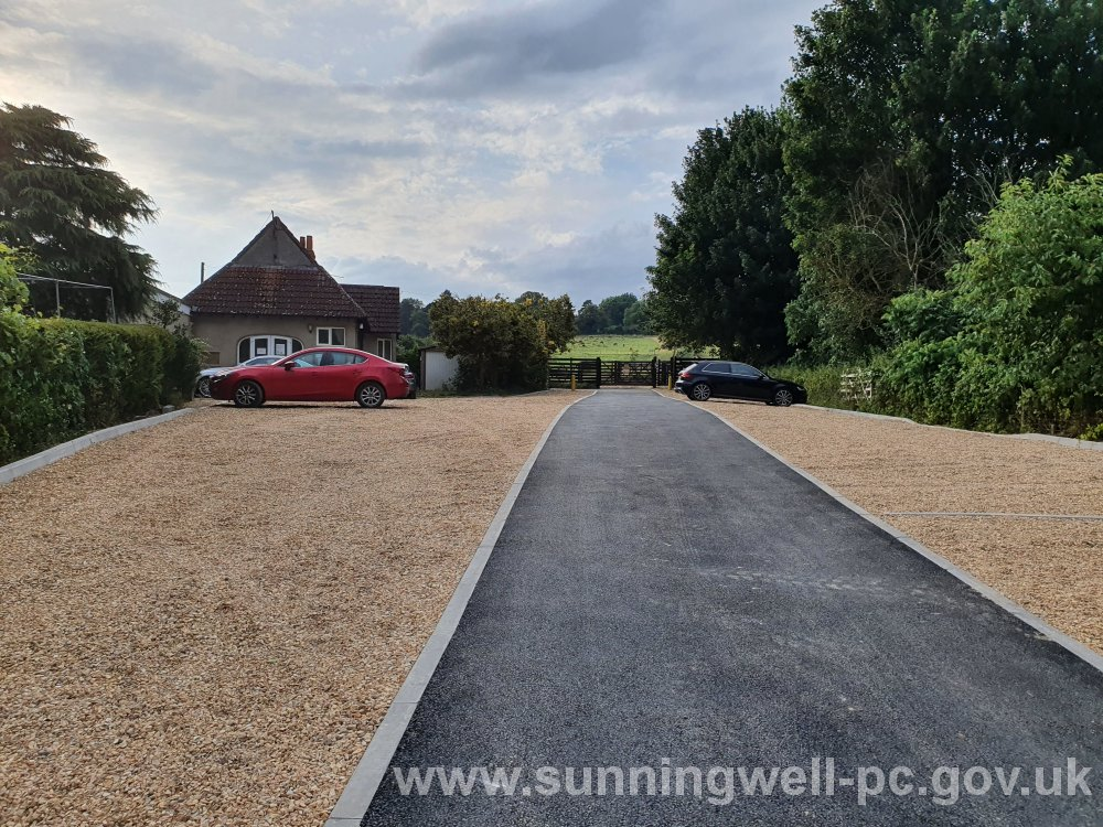 The new SPC car park. Sunningwell Village Hall is seen on the left.