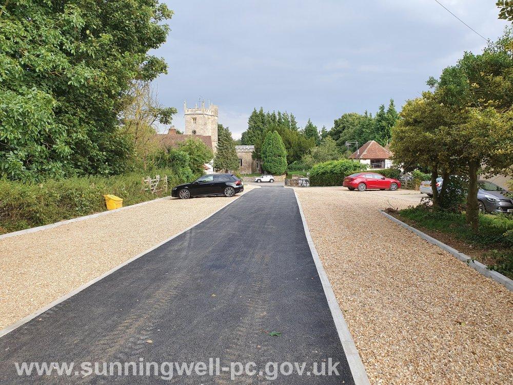 The newly resurfaced SPC car park at Sunningwell Village Hall